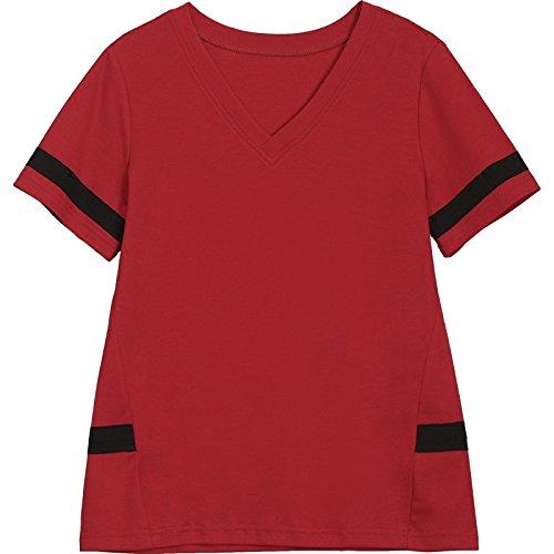 MOMO566225 T-shirt à manches courtes femmes été lâche mince grande taille chemise t-shirt à manches courtes en coton col V,rouge,XXL