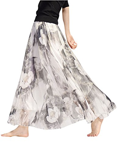 Nlife Womens Floral Print Retro Maxi Chiffon Bohemian Long Skirt Flower7
