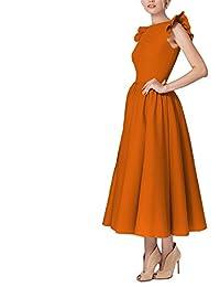 Vestido Vestido sin Mangas de Cuello Redondo Vestido SSLW Moda de Otoño e Invierno Sencilla y