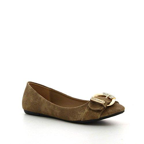 Ideal Shoes - Ballerines aux tons cuivrés avec ceinturon strassé Waist Taupe