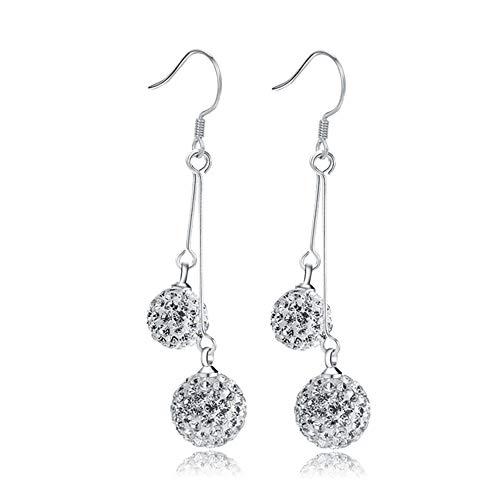 Aks Yue Sterling Silber Ohrringezircon Sphärische Ohrring-Tropfen-langkettige Ohrringe für Frauen, Ausgezeichnet für Frauen-Mädchen