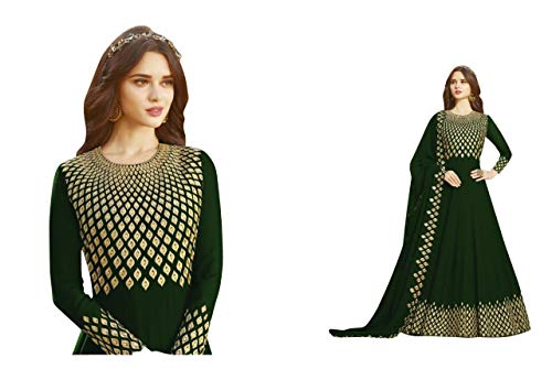 Aaru Fashion Women's Georgette Long Anarkali Salwar Suit Semi-Stitched Material with Dupatta (af-1144 ; Free Size) (green)