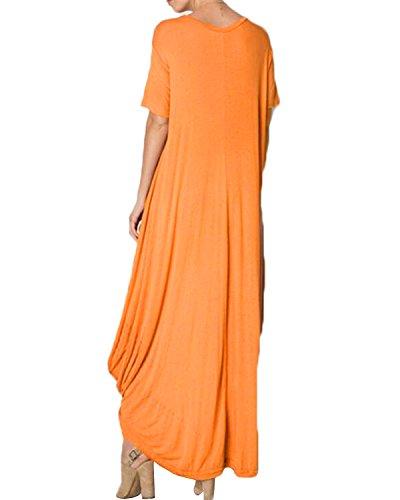 ZANZEA Femme Sexy épaule Lâche Maxi Rayés Robe Asymétrique Bohême Longue Dress Casual Tunique Orange