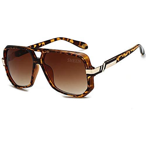 SHEEN KELLY Pilotenbrille Retro Sonnenbrille Gold Schwarzer Rahmen Sonnenbrille UV400 Square