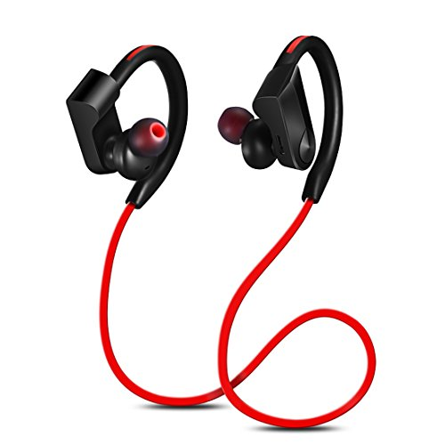 [DalTech] V4.0+EDR Bluetooth Wireless Stereo Headphones, IPX4 Sweatproof, Premium Sound with Bass, Noise Cancelling, Ergonomic Design, Secure Fit, 6 Hrs Playtime with Built-in Mic (Red)