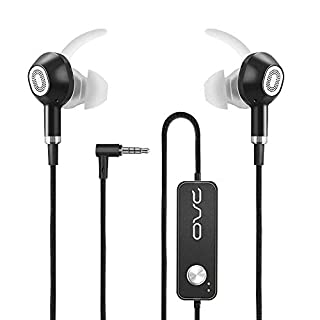 OVC Active Noise Cancelling Earphones Headphones in Ear Earbuds - 60 Hours ANC Playtime, Dual Driver, Bass Enhancement, Volume Control with Microphone, 3.5mm Plug for Android Samsung Huawei Vivo OPPO