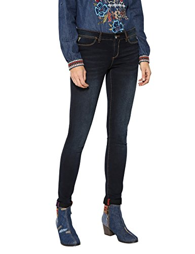 Desigual Second Skin, Skinny Jeans Donna, Blu (Black Denim 5009), W27