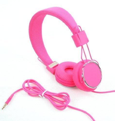 jntworld Farben faltbar zusammenklappbar Freisprecheinrichtung Headset mit Mikrofon DJ über den Kopf Kopfhörer für Apple iPod, iPad, iPad mini nano mp4 Sony, Samsung, iphone 4 4s 5 5S 6, HTC One, Smasung s3 s4 Lte, Pink (Classic-ohrhörer Apple-ipod)