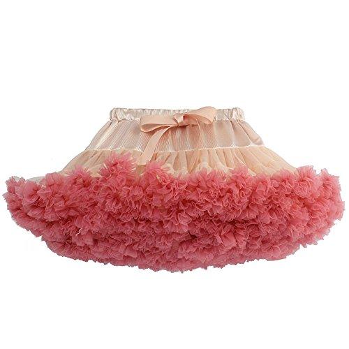 GGTFA Mädchen Tutu Rock Tanzen Prinzessin Flauschigen Cosplay Party Dress peach Rot 2 (Prinzessin Up Dress Peach)