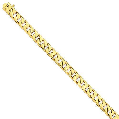 Or 14ct 9,8mm hand-flat biseauté Chaîne gourmette-Bracelet Femme-Homard Griffe-Longueur Options: 2023