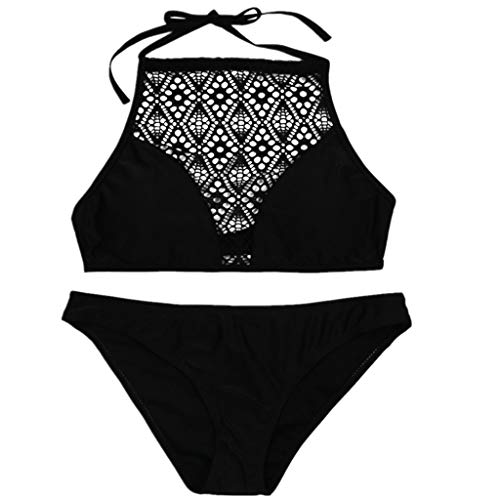 YOcolour HULKY Bikini Set Damen Badeanzug Neckholder Push Up Sport Boho Bikini Bandeau Strandmode BademodeZweiteilige Gepolstert Strandkleidung Split(Schwarz 6,M)