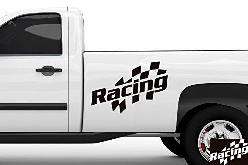 kleb-drauf® - 1 Racing / Schwarz - glänzend - Aufkleber zur Dekoration von Autos, Motorrädern und allen anderen glatten Oberflächen im Außenbereich; aus 19 Farben wählbar; in matt oder glänzend