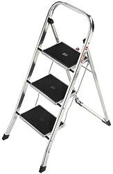 Hailo K30, Alu-Klapptritt, 3 Stufen, Sicherheitsbügel, Klappsicherung, besonders leicht, einfach zu verstauen, belastbar bis 150 kg, 4393-801