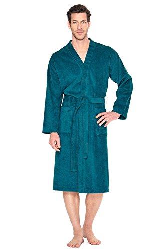 WeWo Unisex Damen Herren Kimono Bademantel Saunamantel Morgenmantel, 100-3005-Petrol-XL-(54) (Baumwolle Aus Kimono)