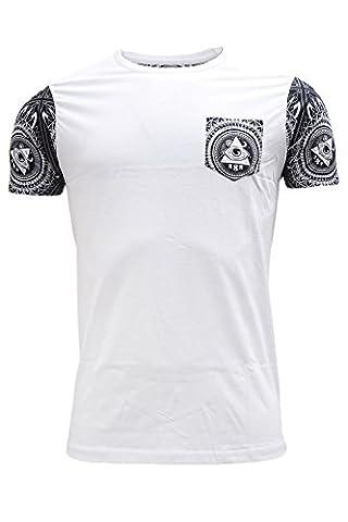 Brave Soul - T-shirt - Uni - Manches Courtes - Homme - Blanc - M