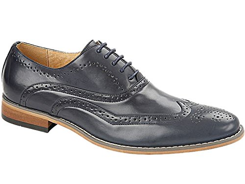 Mens Belgravia Charles Southwell Leather Look Oxford Brogue Lace Up Smart Work Fashion Shoe Navy 10 UK