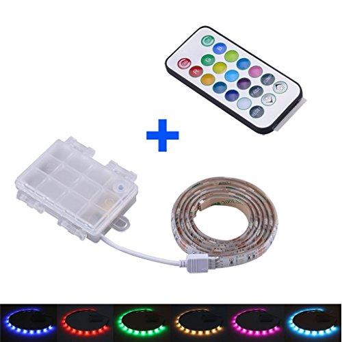 LED mehrfarbig RGB Strip Leiste + Fernbedienung + Batteriehalter , Batterie betrieben , Länge nach Ihrer Auswahl L= 50cm / 1m / 2m , 4,5V LED Streifen Band
