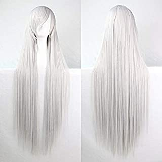 Womens Ladies Girls 100cm Silver White Color Long Straight Wigs High Quality Hair Carve Cosplay Costume Anime Party Bangs Full Sexy Wigs