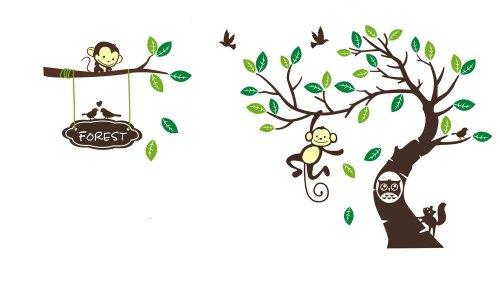 Jungle Waldtier Affe, Eichhörnchen und Eule Schaukel Spiel auf bunten blättern Baum Wandtattoo Wandaufkleber (RF1207)