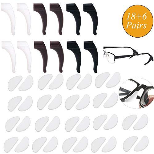 18 Paar Klebstoff Brillen Nasenpads Anti Rutsch Silikon Brillen Nasenpads Ersatz mit 6 Paaren Silikon-Anti-Rutsch-Halter Brille Ohrbügelhaken Halter Bügelhaken Spitze für Gläser Sonnenbrille Brillen