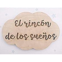 Placa cartel de madera en forma de nube personalizada con la frase que quieras, regalos