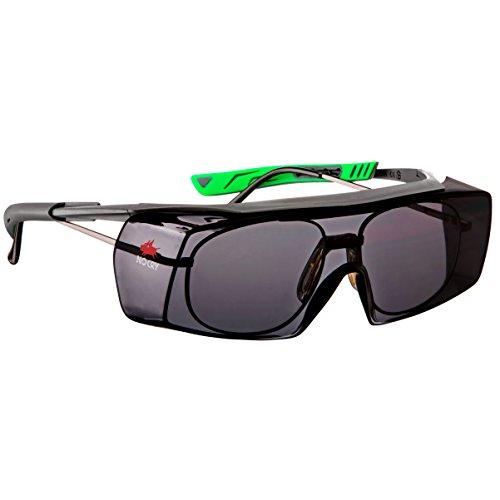NoCry Getönte Sicherheits-Überbrille mit Kratzbeständigen Gläsern, Seitenschutz, Verstellbaren Bügeln, 400 UV-Schutz, grau grüner Rahmen und EN166, EN170, EN172, EN175 Zertifiziert
