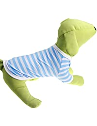 YiJee Lindo Perro Cuello Redondo Raya Camiseta Verano Mascota Ocio Ropa