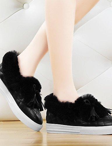 ShangYi gyht Scarpe Donna - Mocassini - Ufficio e lavoro / Formale / Casual - Comoda - Piatto - Finta pelle - Nero / Beige Black