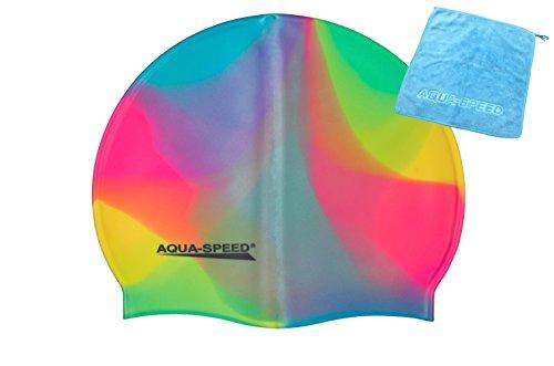 AQUA-SPEED® SET - BUNT Badekappe + Kleines Mikrofaser Handtuch | Silikon | Bademütze | Badehaube | Schwimmhaube | Erwachsene | Damen | Herren | Kinder, Kappen Designs:61. Bunt / 54