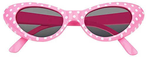 Cat Eye Brille Sandy mit Punkten - Rosa Weiß (Erwachsenen 50er Jahre Grease Kostüme)