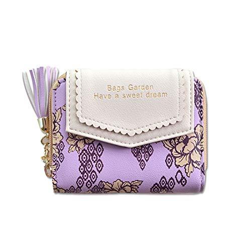 Louis Vuitton Geldbörsen Wallets (AREDOVL Damen RFID Sperrung Kartenhalter PU Leder Geldbörse für Mädchen mit kleinen Quaste gedruckt Blume (Color : Purple))