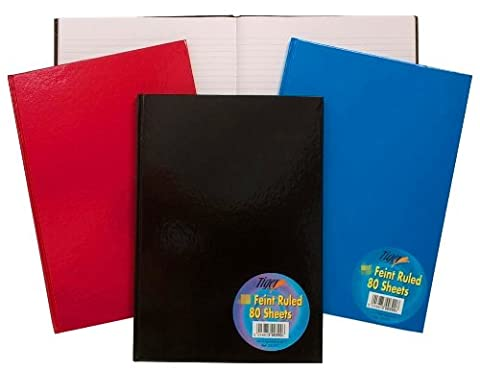 New A4 Hardback Notebook Note Book Pad Ruled Feint Lined 160 Pages 80 Sheets - 1 Book