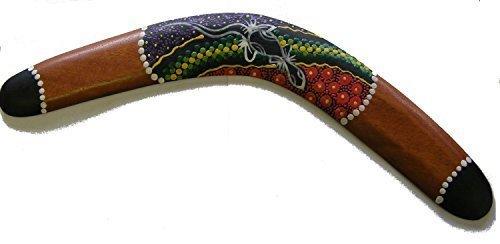 Dekorativ Aborigines Stil Punkte Bemalte Holz Boomerang - 40 cm - Fair Trade -