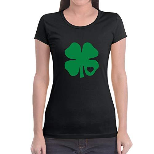 Green-day-bedruckte T-shirts (Grünes Herz Kleeblatt St. Patrick's Day Irland Frauen T-Shirt Slim Fit X-Large Schwarz)