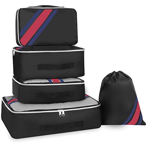 Kofferorganizer Kleidertaschen Set, YAMTION Packtaschen Packing Cubes Set, Packwürfel ideal für Koffer   5 teiliges Set (Schwarz)