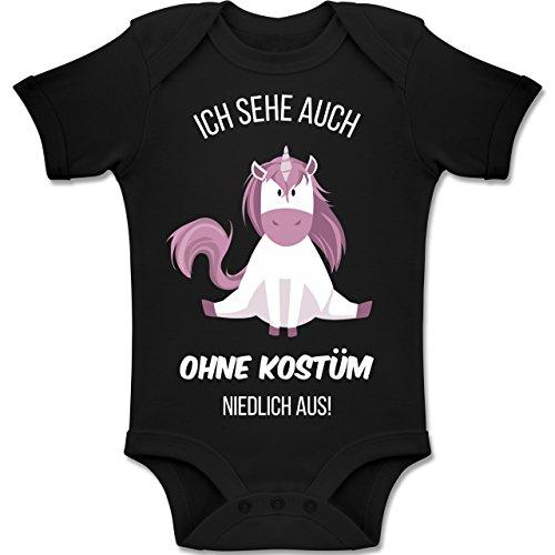 Shirtracer Karneval und Fasching Baby - Ich Sehe auch ohne Kostüm niedlich aus Einhorn - 1-3 Monate - Schwarz - BZ10 - Baby Body Kurzarm Jungen - Kostüm Für Eltern Und Baby