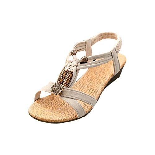 VJGOAL Damen Sandalen, Frauen Mädchen Böhmischen Mode Flache beiläufige Sandalen Strand Sommer Flache Schuhe Frau Geschenk (36 EU, Q-Beige)