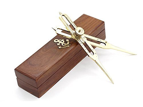 6-full-brass-proportional-divider-6-inch-with-anchor-inlaid-box-by-roorkee-instruments-india