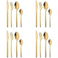 16 piezas Set de Vajilla Acero Inoxidable Cuberteria Oro Mostrada, Bisda Cubiertos Cuchillo Tenedor Cuchara