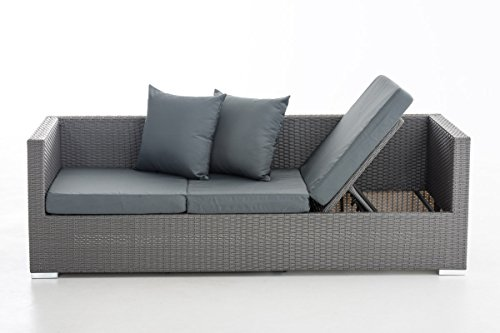 CLP flexibles Poly-Rattan 3er Lounge-Sofa SOLANO, ALU-Gestell, 4 Rattanfarben + 5 Kissenfarben, inkl. Auflagen Rattanfarbe: Grau, Kissenfarbe: Eisengrau - 3