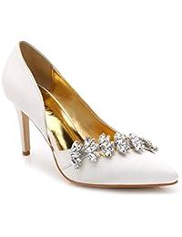 Xianshu Puntiagudo punta de seda Rhinestone zapatos de estilete de la boda bombas de tacón alto