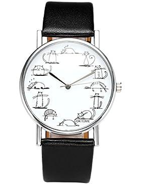 JSDDE Uhren,Fashion Cute Cartoon Katzen Armbanduhr Katze Skala Maedchen Damen Uhr PU Leder Band Analog Quarzuhr...