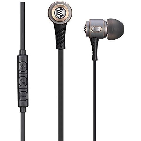 Basn M6auricolari con microfono Bassi Profondi controllo del volume in linea Riduzione del rumore cuffie per Apple Iphone, Ipad, Ipod, Samsung Galaxy, HTC, Android telefoni cellulari
