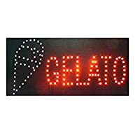 ducomi - Signal LED Light with Text - Panel with Vintage Neon Luminous Flashing - Ideal for Shops, Pubs, Pizzerias Or Home - 48 X 25 X 2.5 cm Ice Cream