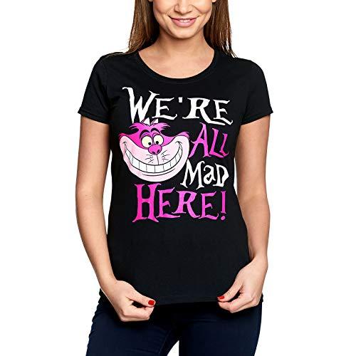 Alice im Wunderland Disney Damen T-Shirt Grinsekatze All Mad Here Baumwolle schwarz - L
