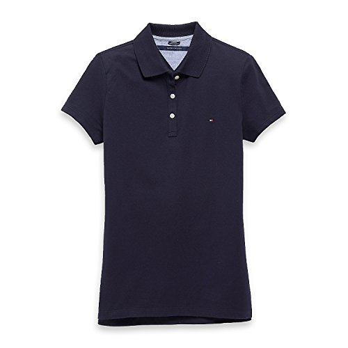 Tommy Hilfiger Damen Poloshirt, Polo, Women's Plain Logo Polo Shirt (Medium) -