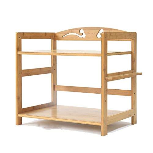 2 Etagen Regal Bambus Mikrowelle Rack Küchenständer, Arbeitsplatte Regal für kleine Küche Robust genug belastbar 100 kg-42x38x50cm