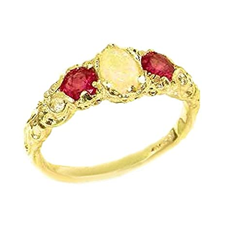 Ladies Solid 9ct Gold Natural Opal & Ruby English Victorian Trilogy Ring - Size N - Finger Sizes K to Y Available - Perfect Gift for Mother, Grandmother, Aunty,