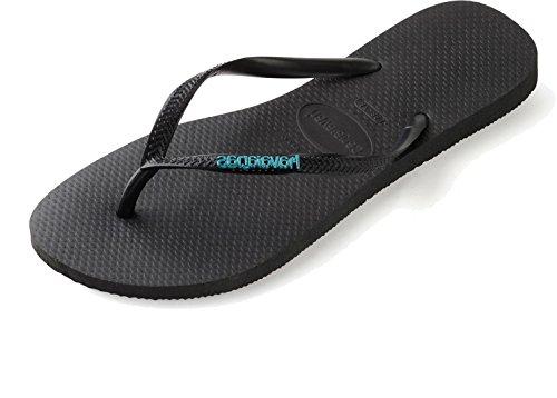 havaianas-slim-logo-metallic-zehensandale-black-blue-39-40