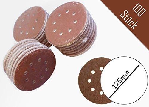 Preisvergleich Produktbild 100 Stück Klett-Schleifscheiben ø 125 mm - Korn 240- Haft Schleifscheiben-Klett für Exzenter-Schleifer 8 Loch
